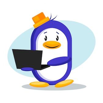 ラップトップベクターデザインとペンギン