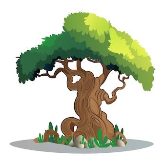 Зеленое эко лиственное дерево и трава на скалах
