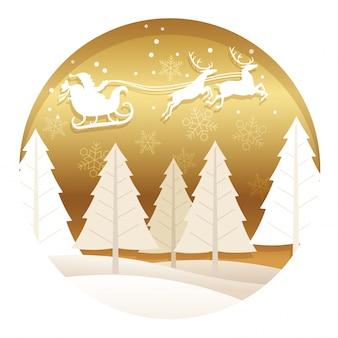 森とクリスマスのイラスト