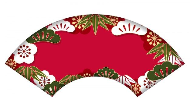 新年のカード、ベクトルのための伝統的な日本のパターンとファンの形の背景
