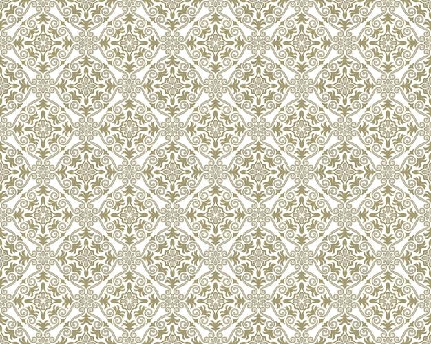 ダマスティスシームレスパターン、ベクトルイラスト。水平および垂直方向の繰り返し
