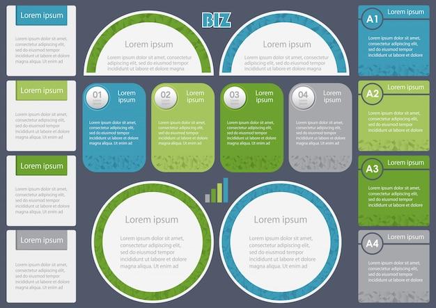 ビジネス関連のインフォグラフィックのセット