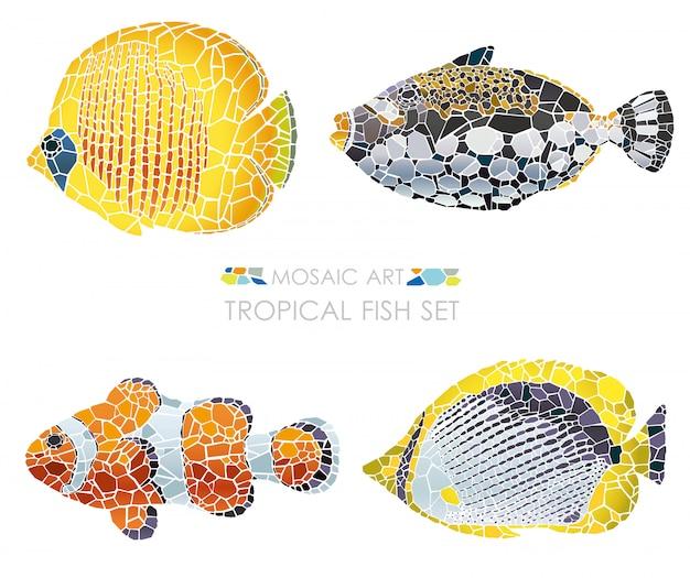 分離された熱帯のモザイク魚のセットです。ベクトルイラスト
