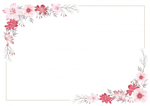 分離されたベクトル水彩花のフレーム