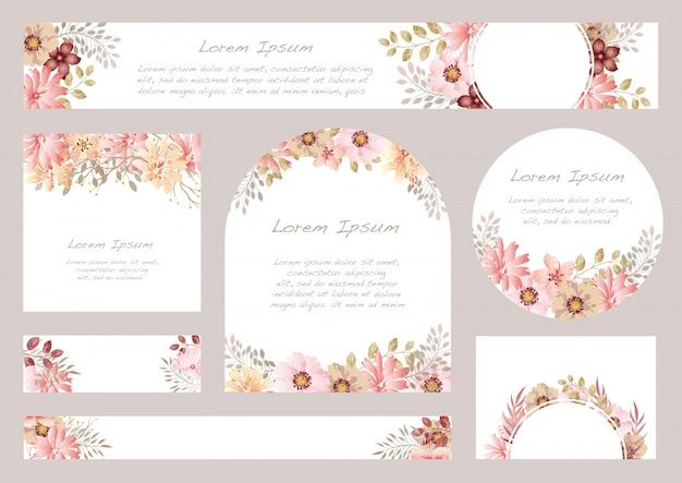 テキストスペース、イラストと水彩花の背景のセット。