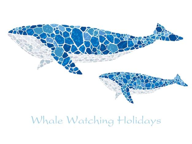 テキストスペースを持つモザイクの青いクジラ