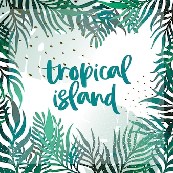 ベクトル熱帯葉白い背景の上のバナー。ポスターパーティーのためのエキゾチックな植物デザイン