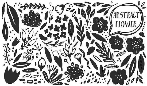 ベクトル花植物セット。シルエット手描きスタイル。