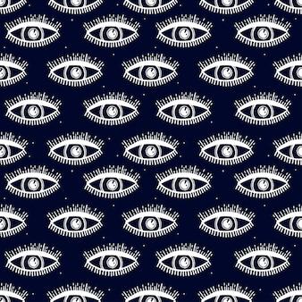 魔法のパターンとのシームレスなパターン。神秘的なアイコン