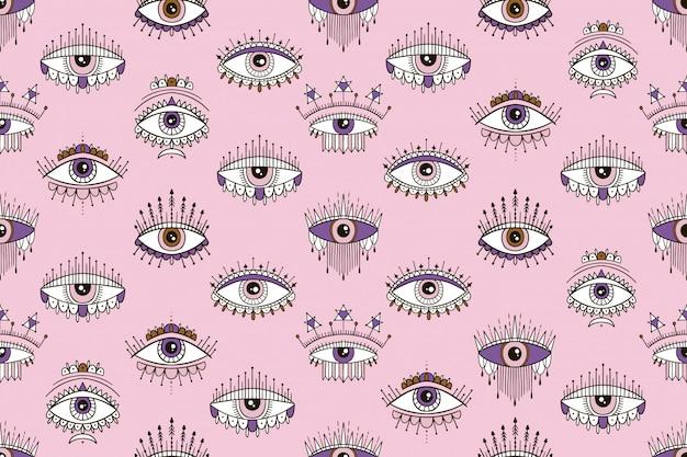 目の魔法のパターンとのシームレスなパターン。難解な、インスピレーションの目に署名します。