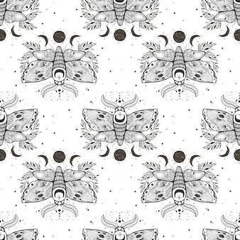蛾蝶とシームレスなパターンベクトル。
