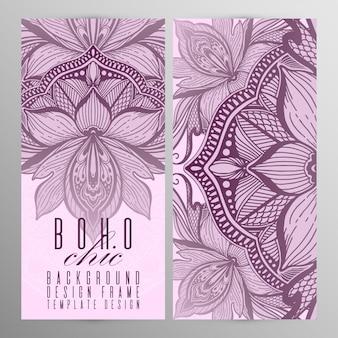 ベクトルヴィンテージ曼荼羅蓮カードセットピンク色。