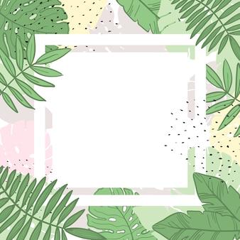 熱帯の葉夏フレームバナー