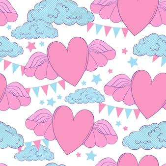 シームレスパターンベクトルバレンタインカードテンプレート