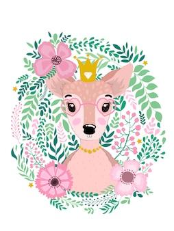 Симпатичные рисованной олень олень