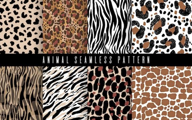 シームレスな動物の毛皮の抽象的なパターンセットアート。印刷のための手塗りの交差ブラシストロークを持つテクスチャー。