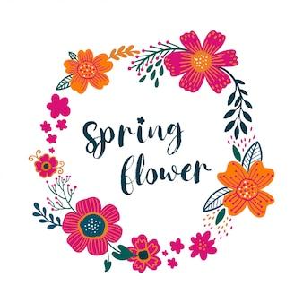 咲く庭の花と夏ビンテージ花グリーティングカードリース
