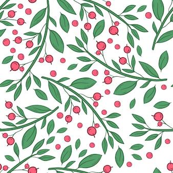 白い背景の上の果実と小枝のシームレスなパターンベクトル
