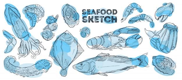 シーフードスケッチセット。手描きの料理。すべての要素は白で分離されています。