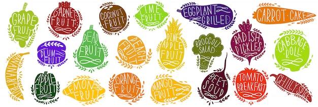 Фрукты и овощи набор силуэтов с буквами. изолированные объекты на белом. фрукты и овощи логотип или элемент.