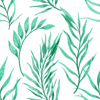 Завод ветви рука нарисованные картины бесшовные. этнический орнамент, цветочный принт, текстильная ткань, ботанический элемент. зеленый цвет в белом