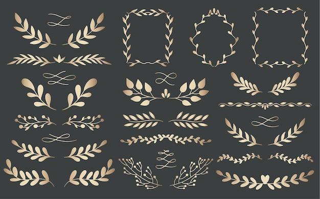 Завод природы золотых делителей рисованной набор. коллекция ботанического элемента. элегантный винтажный стиль.