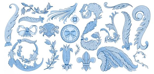 Набор дизайна синий элемент изолирован