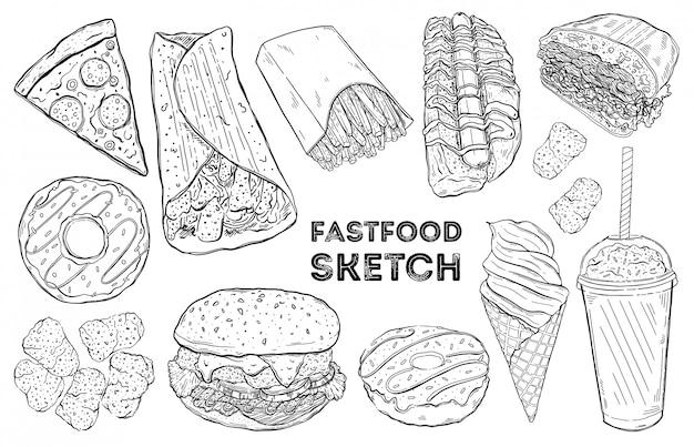 ファーストフードスケッチセット。手描きの食べ物。