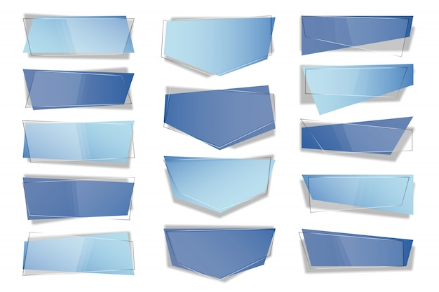 トレンディな平らな幾何学的ベクトルバナーのセットです。