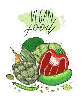 現実的なスケッチスタイルの野菜の大きなセット。健康食品、天然物。