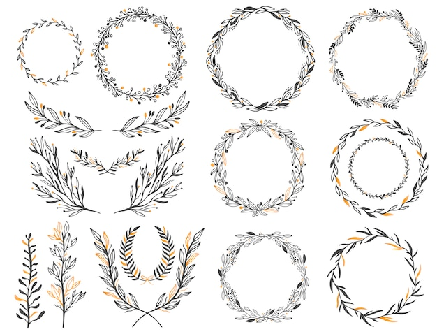 Свадебные цветочные графические элементы установлены