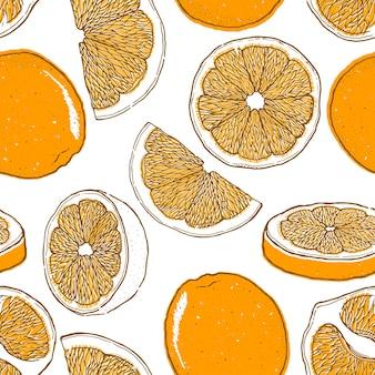 オレンジ色の果物の描かれたシームレスパターンを手します。
