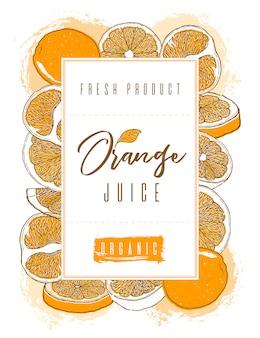 オレンジ色の果物の手描きのフレーム。