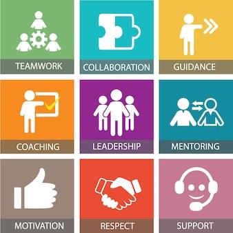 リーダーシップビジネスコンセプト。リーダーの人々のアイコンのタイポグラフィー