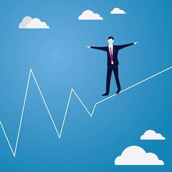 ロープを歩くビジネスマン。ビジネスコンセプトにおけるリスクの課題