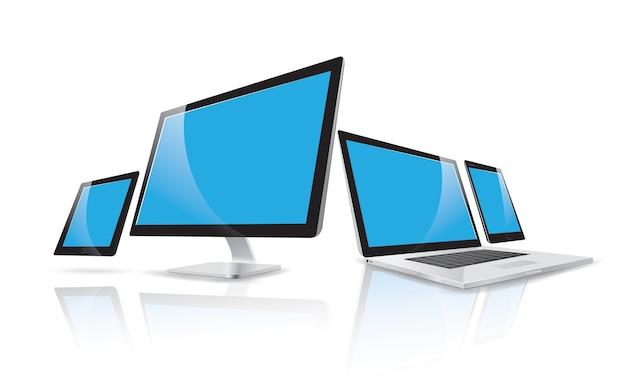 ラップトップ、コンピュータ、スマートフォン、タブレットのモックアップテンプレートのベクトル図