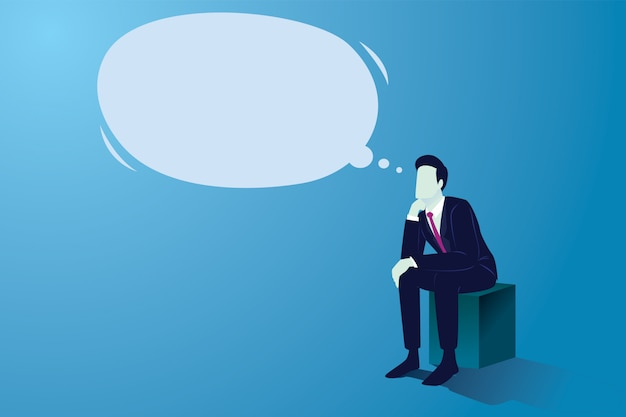 Бизнесмен сидя и думая с большим пустым мечт речевым пузырем. смущенный человек напряженно думает, ищет решение