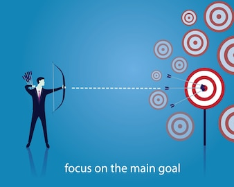 ビジネスマン、フォーカス、弓、矢、目標