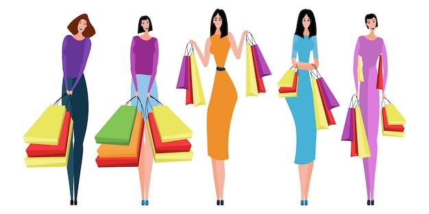 購入と一緒に買い物袋を運ぶ人々のコレクション。