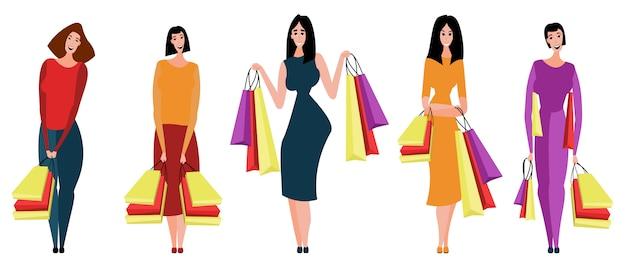 女性と女の子が店、店、商店街で季節セールに参加しています。