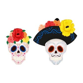 フローラルリースと口ひげ、ソンブレロの帽子とかわいい男性と女性の頭蓋骨