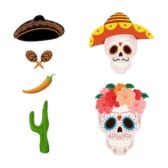 漫画メキシコの砂糖頭蓋骨私