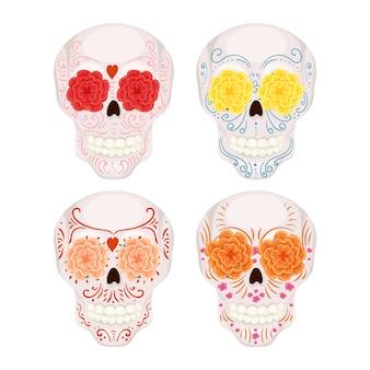 フローラルリースとかわいい男性と女性の頭蓋骨