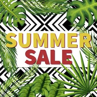 夏の季節セールソーシャルメディア投稿。割引バナーを保存します。エキゾチックな植物の葉