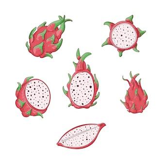 Дракон фрукты целые и нарезанный набор.