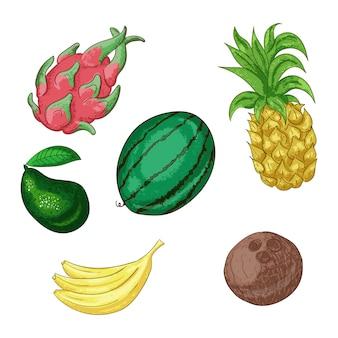 Тропические фрукты, целый и нарезанный набор.