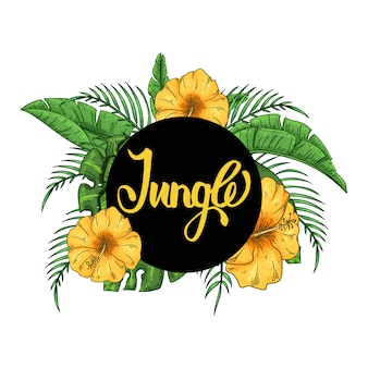 ヤシの葉とエキゾチックなハイビスカスの花を持つ熱帯のハワイアンジャングルパーティーの招待状