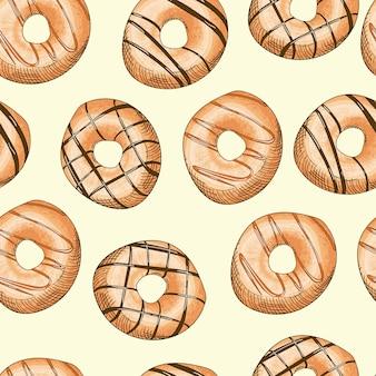 艶をかけられたドーナツのシームレスパターン