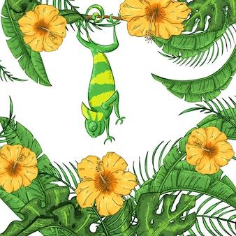 カメレオン、ハイビスカスと植物のイラスト。エキゾチックなジャングル