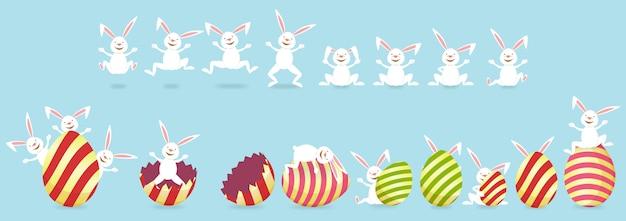 イースターのウサギと卵の青色の背景色のコレクション